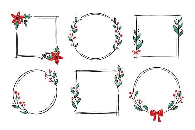 Cadre floral de noël avec forme de cercle, rond, rectangle. cadre de couronne de style dessiné à la main doodle. illustration vectorielle pour noël, décoration de mariage.
