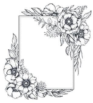 Cadre floral noir et blanc avec des bouquets de fleurs d'anémones dessinées à la main, de bourgeons et de feuilles dans le style de croquis.