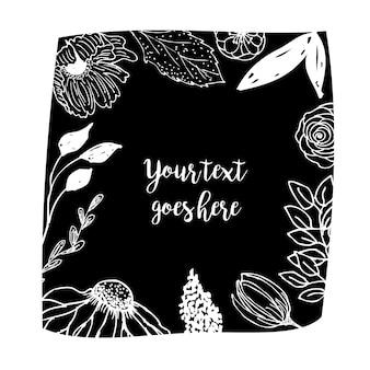Cadre floral noir blanc dessiné à la main