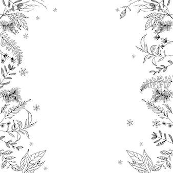 Un cadre floral noir et blanc