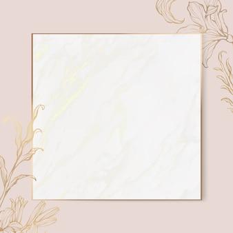 Cadre floral or sur fond de marbre