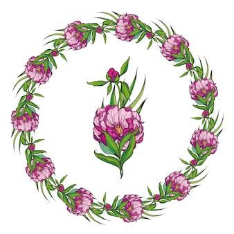 Cadre floral avec pivoines