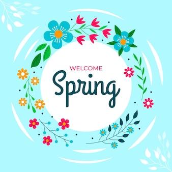 Cadre floral plat beau printemps