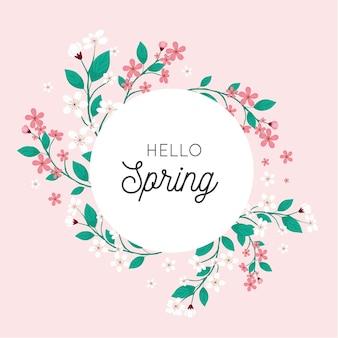 Cadre floral plat de printemps