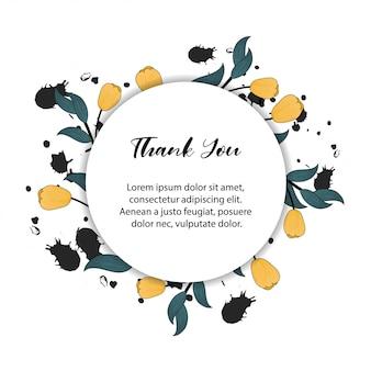 Cadre floral pour carte de remerciement