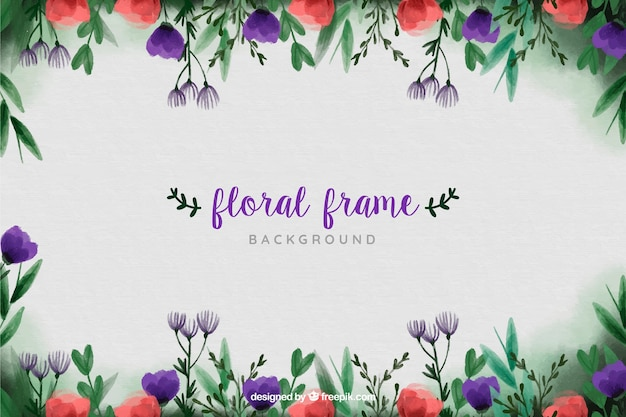 Cadre floral pour fond aquarelle