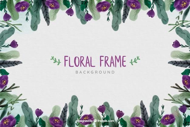 Cadre floral pour fond blanc aquarelle