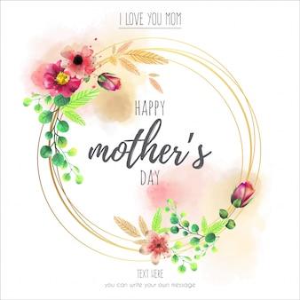Cadre floral pour la fête des mères heureuse