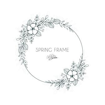 Cadre floral pour printemps dessiné à la main