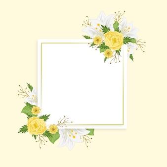 Cadre floral printanier coloré dessiné à la main