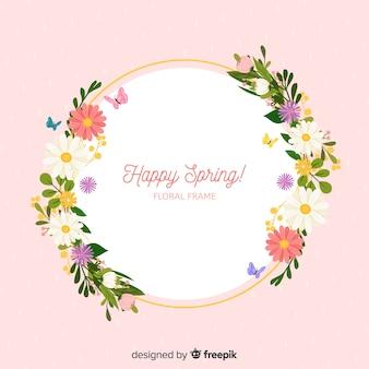 Cadre floral printanier dessiné à la main