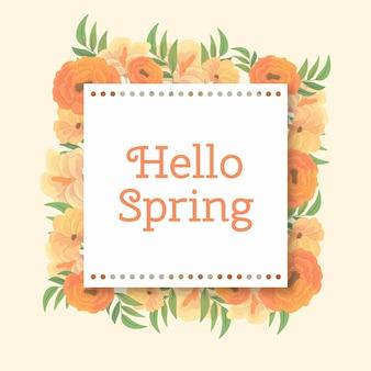 Cadre floral de printemps aquarelle avec bordure en pointillé