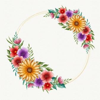 Cadre floral de printemps aquarelle avec espace vide