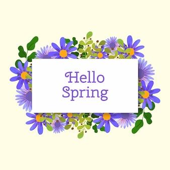 Cadre floral de printemps aquarelle avec fleurs bleues