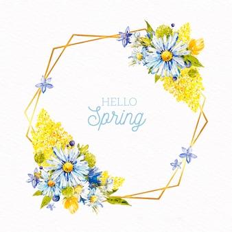 Cadre floral de printemps aquarelle avec des fleurs multicolores