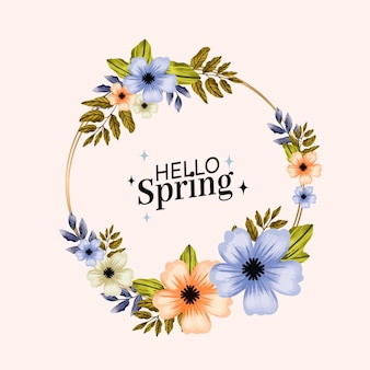Cadre floral de printemps aquarelle mignon