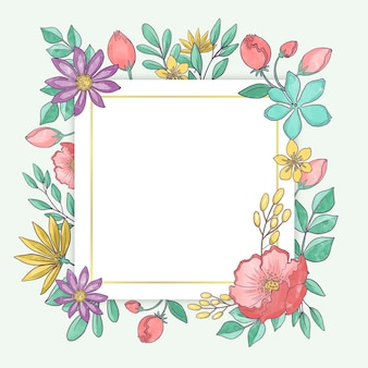 Cadre floral de printemps aquarelle