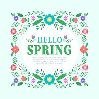 Cadre floral de printemps design plat