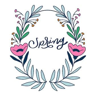 Cadre floral de printemps dessiné à la main