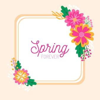Cadre floral de printemps dessiné