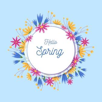 Cadre floral de printemps détaillé