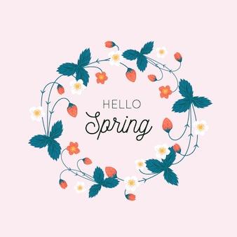 Cadre floral de printemps avec des feuilles et des fleurs