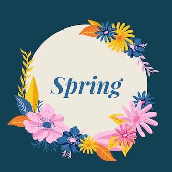 Cadre floral de printemps mignon dessiné à la main