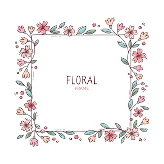 Cadre floral de printemps mignon