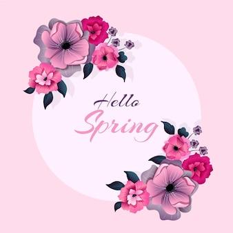 Cadre floral de printemps plat détaillé