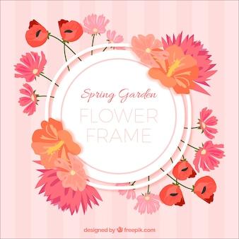 Cadre floral de printemps avec style circulaire