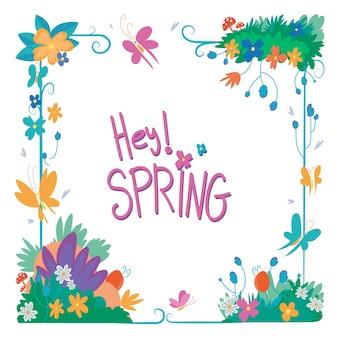 Cadre floral de printemps style dessiné à la main