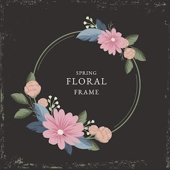Cadre floral printemps vintage