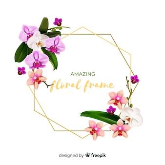 Cadre floral réaliste