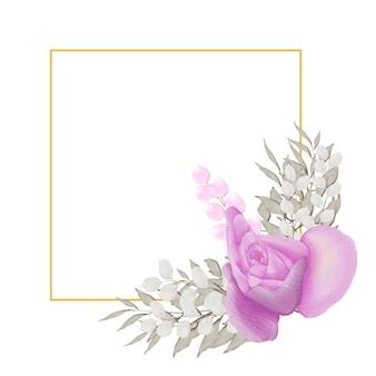 Cadre floral avec rectangle