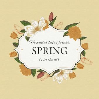 Cadre floral rétro printemps