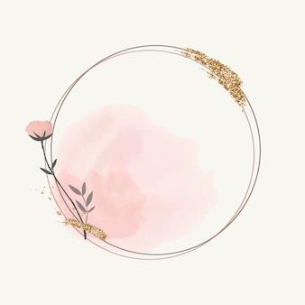 Cadre floral rond en fleurs