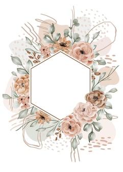 Cadre floral rose feuilles fond avec résumé de forme