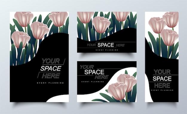 Cadre Floral Rose Pour Les Cartes D'invitation. Vecteur Premium