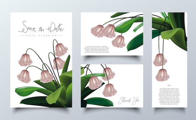 Le Cadre Floral Rose Pour Modèle De Cartes D'invitation Vecteur Premium