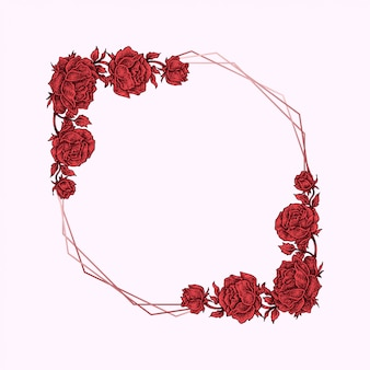 Cadre floral rose rouge