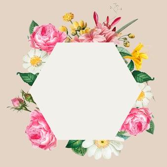 Cadre floral rose