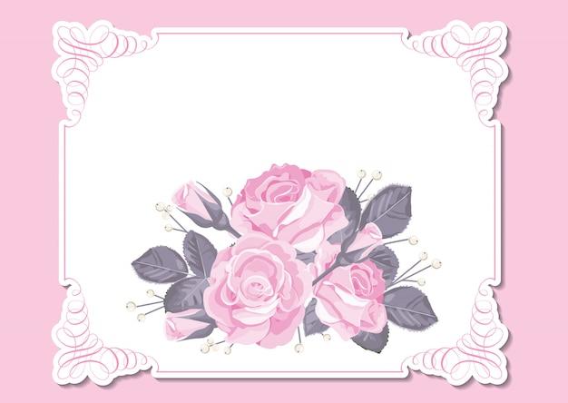 Cadre floral avec roses roses et fond