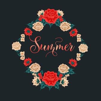 Cadre floral. roses rouges. heure d'été. roses blanches. décoration de carte de voeux. guirlande de fleurs