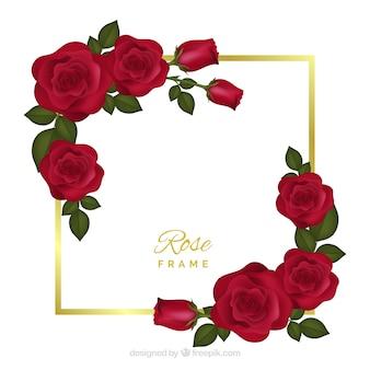 Cadre floral avec des roses rouges
