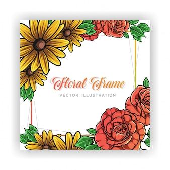 Cadre floral de roses et tournesol