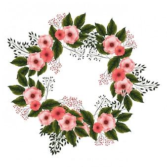 Cadre floral avec des roses