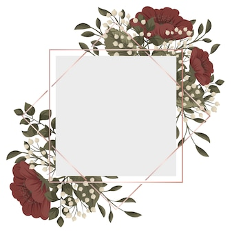 Cadre floral rouge fleurs rouges et blanches