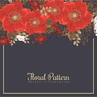 Cadre floral rouge - fleurs rouges et blanches