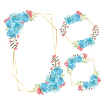 Cadre floral rustique aquarelle fleur de pivoine bleue