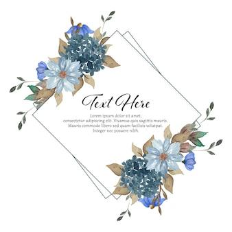 Cadre floral rustique bleu indigo romantique